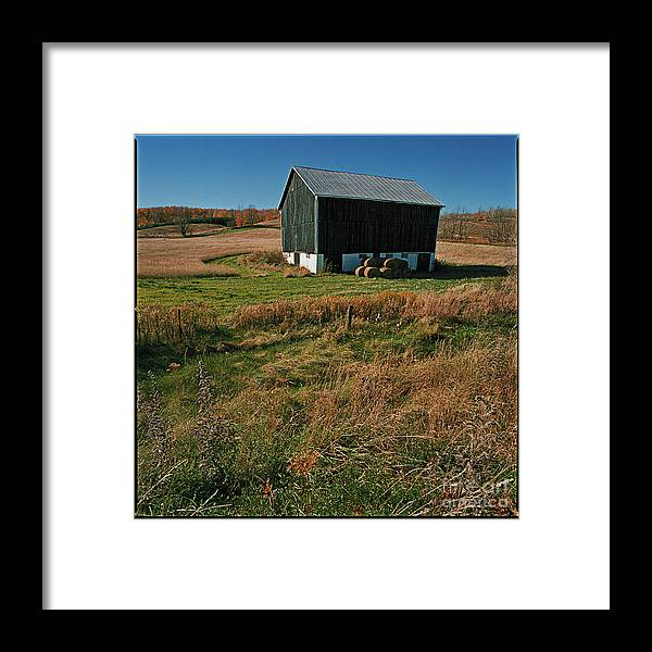Landscape Country Autumn Fall Color Barn Framed Print featuring the photograph A Barn In Mid Autumn by Ty Lee