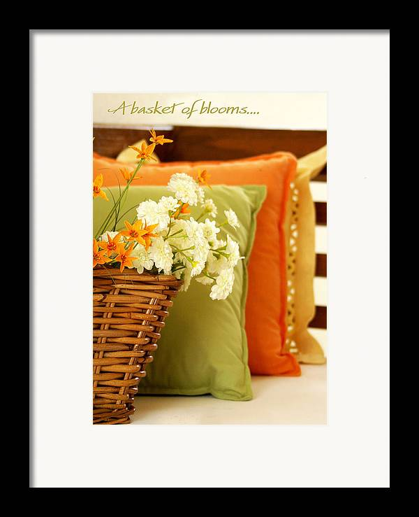 Still Life Framed Print featuring the photograph A Basket Of Blooms by Holly Kempe