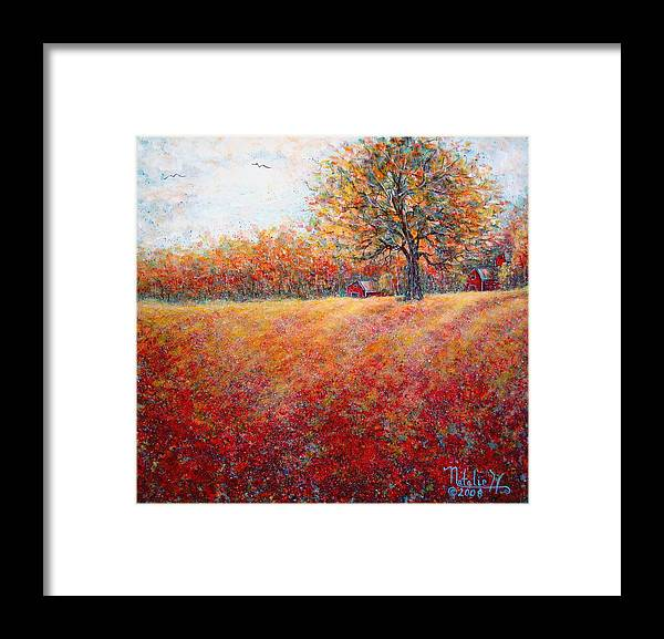 Autumn Landscape Framed Print featuring the painting A Beautiful Autumn Day by Natalie Holland