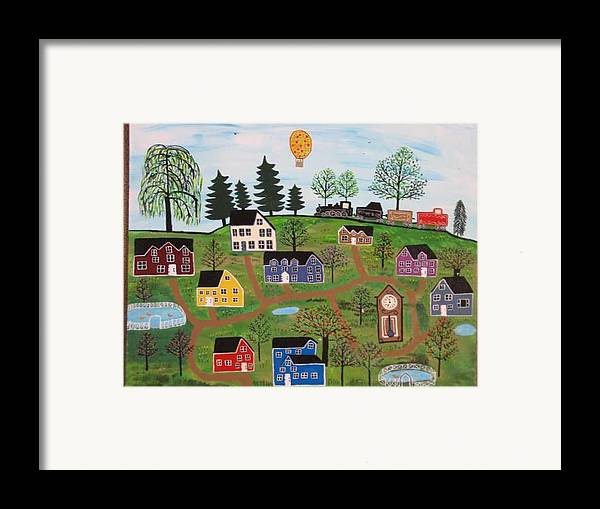 Folk Art Village Framed Print featuring the painting A Beautiful Day In Deltalareah Wexla by Mike Filippello