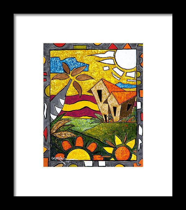 Puerto Rico Framed Print featuring the painting A Beautiful Day by Oscar Ortiz