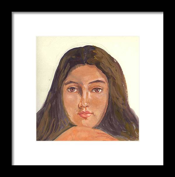 A Young Indian Girl Framed Print featuring the painting A Beautiful Girl by Asha Sudhaker Shenoy