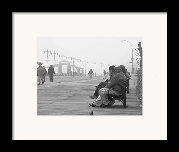 Coney Island Framed Print featuring the photograph A Bench At Coney Island by Peter Aiello