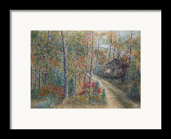 Country Road; Old House; Trees Framed Print featuring the painting A Bend In The Road by Ben Kiger