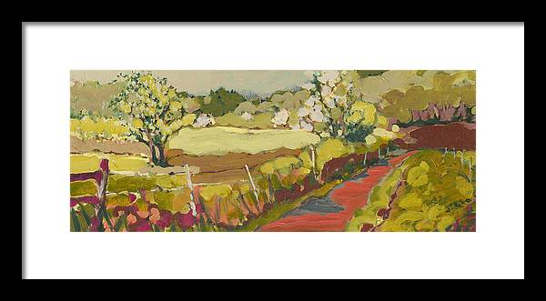 Landscape Framed Print featuring the painting A Bend in the Road by Jennifer Lommers