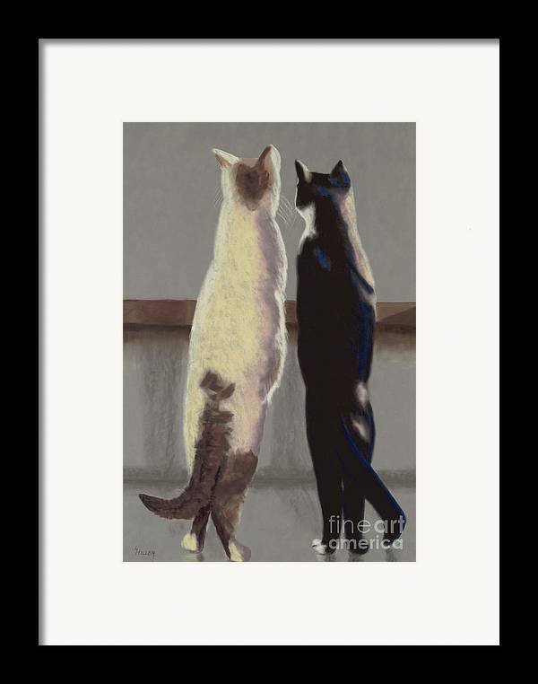 Cat Framed Print featuring the painting A Bird by Linda Hiller