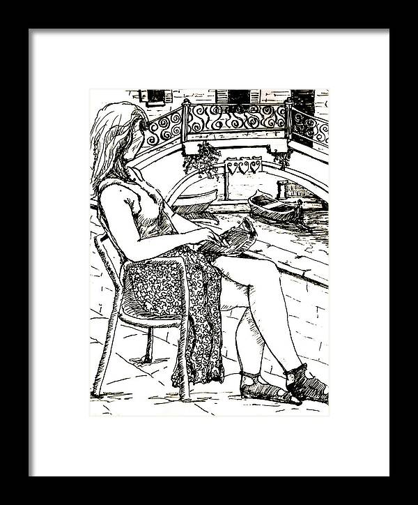 Venice Artwork Framed Print featuring the drawing A Book In Venice by Dan Earle