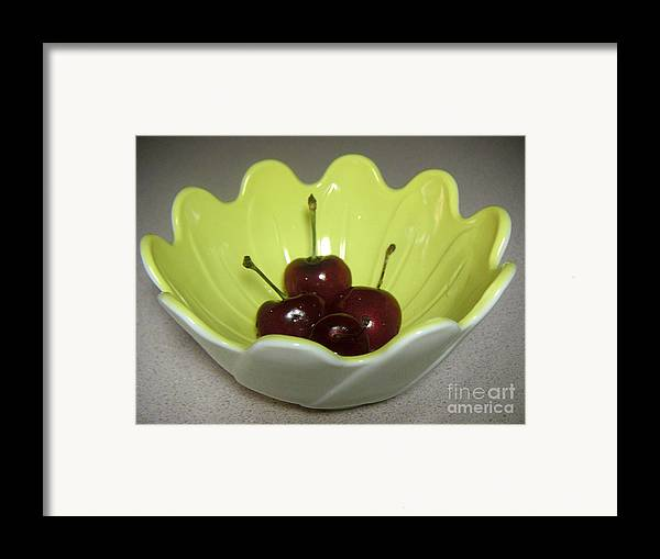 Nature Framed Print featuring the photograph A Bowl Of Cherries by Lucyna A M Green