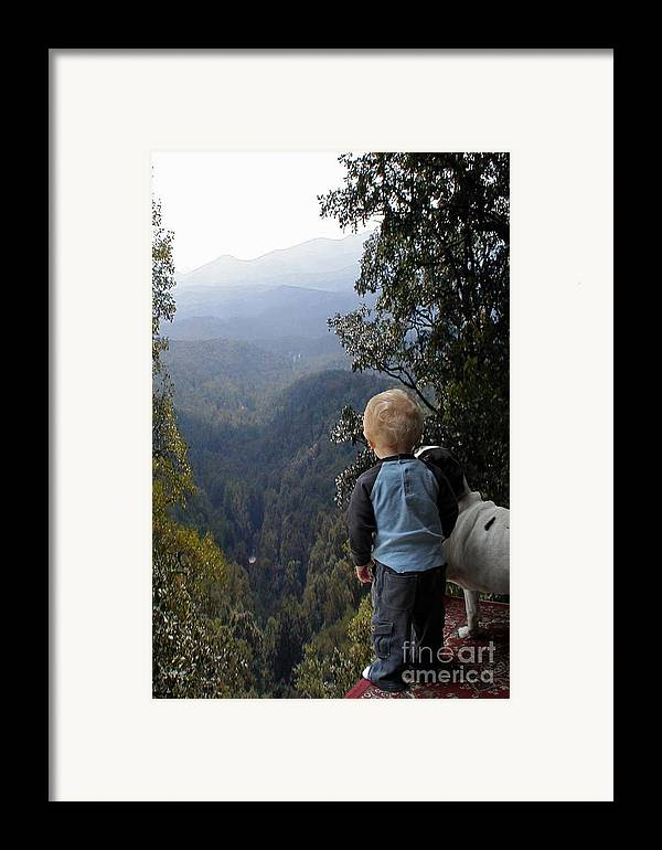 Boy Framed Print featuring the photograph A Boy And His Dog by Robert Meanor