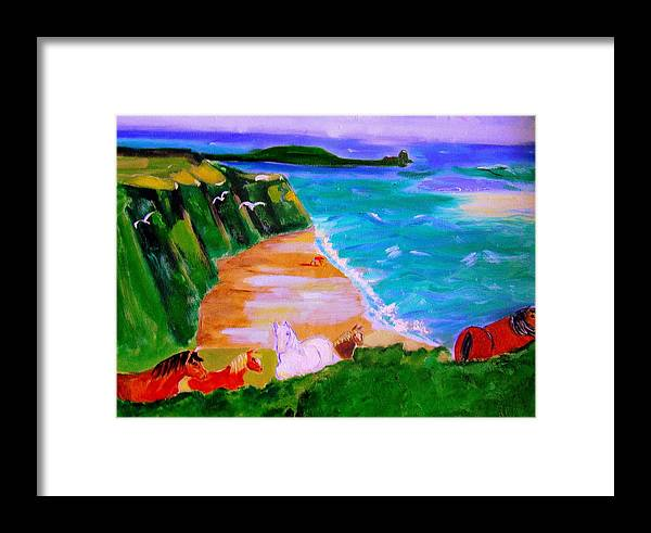 Horses Framed Print featuring the painting A Breezy Day At Rhosilli Bay by Rusty Gladdish