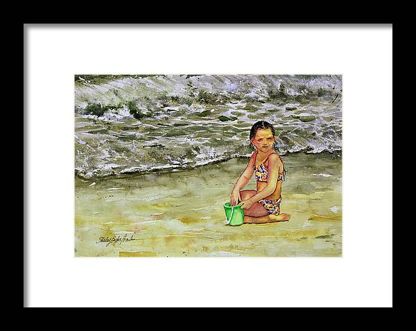 Sun Framed Print featuring the painting A Bucket Full Of Ocean by Shirley Sykes Bracken