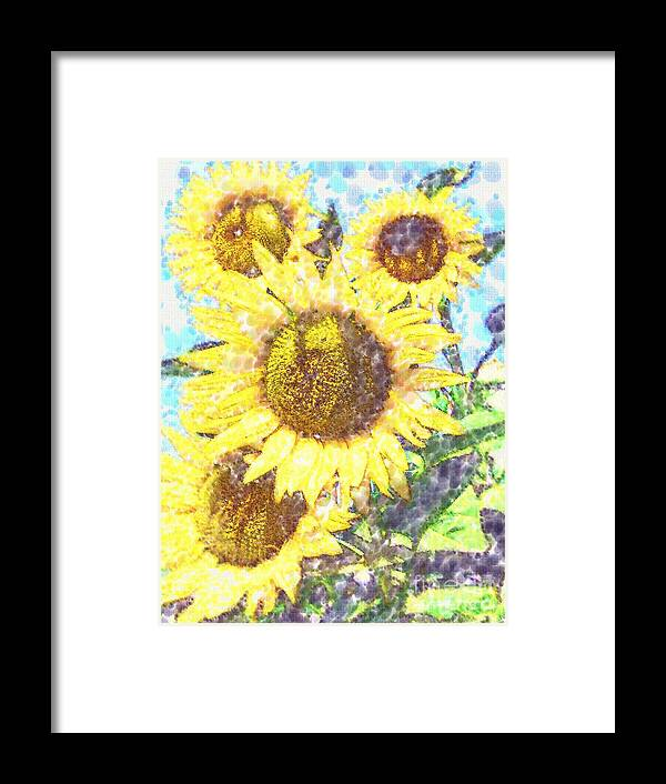 Sunflowers Framed Print featuring the pastel A Bunch by Deborah Selib-Haig DMacq