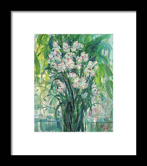 Background Framed Print featuring the painting A Bunch Of Orchid Paintings by Zhang Chongqing