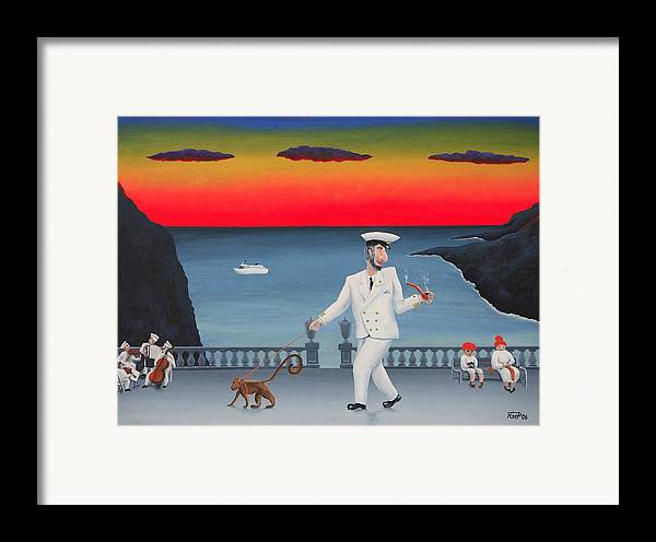 Landscape Captain Monkey Orchestra Jazz Childhood South Tropical Island Cruise Ship Wacation Resort Framed Print featuring the painting A Captain And His Monkey by Poul Costinsky