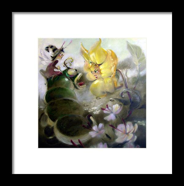 Fantasy Framed Print featuring the painting A Caterpillar Ride by Patrick McClintock