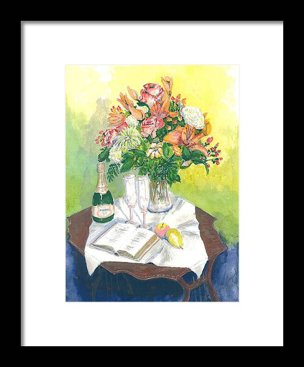 Still Life Framed Print featuring the painting A Champagne Moment by Dan Bozich