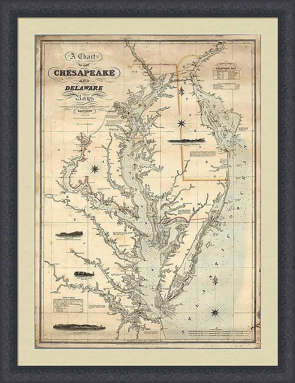A Chart of the Chesapeake And Delaware Bays 1862 by Celestial Images