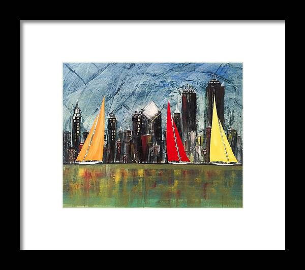Chicago Cityscape Framed Print featuring the painting A Chicago Sail by Barry Knauff