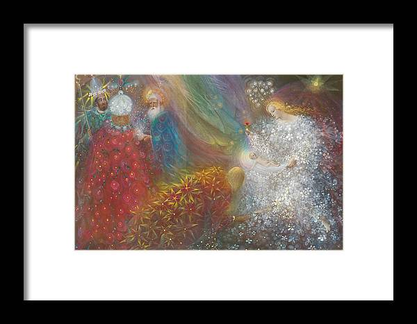 Nativity Framed Print featuring the painting A Child Is Born by Annael Anelia Pavlova