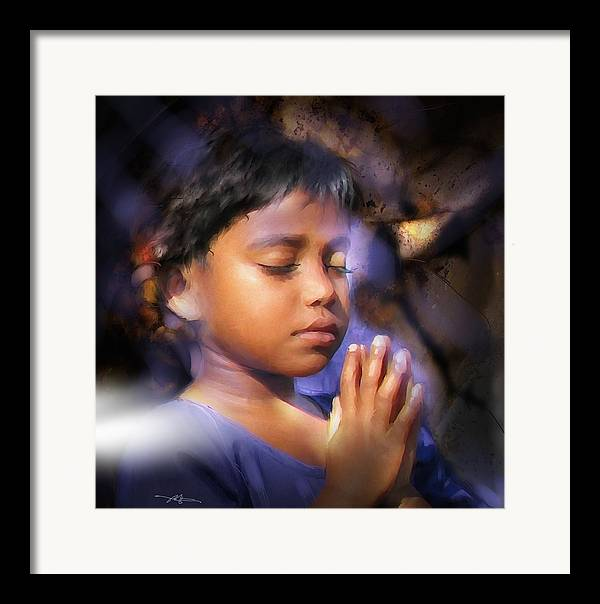 Girl Framed Print featuring the painting A Child's Prayer by Bob Salo