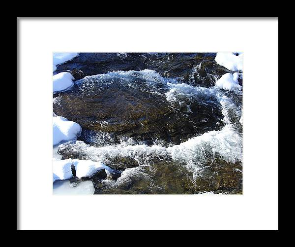 Greene County Greeting Card Framed Print featuring the photograph A Chilly Froth Circles A Resting Stone by Terrance DePietro