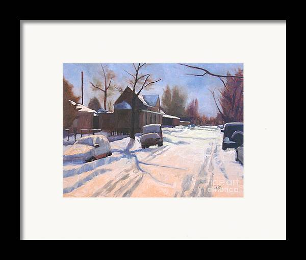 Snow Framed Print featuring the painting A Christmas Snow by Tate Hamilton