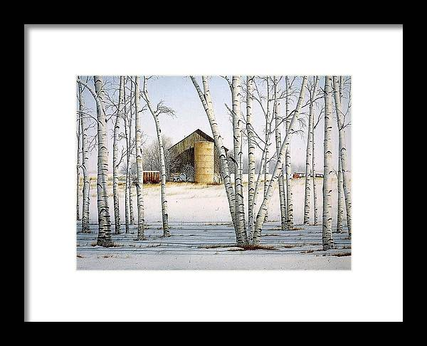 Rural Framed Print featuring the painting A Cluster Of Birch by Conrad Mieschke