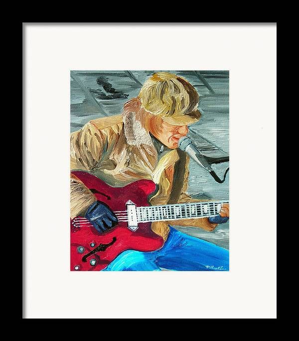 Street Musician Framed Print featuring the painting A Cold Day To Play by Michael Lee