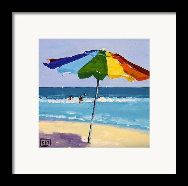 Beach Framed Print featuring the painting A Colorful Spot by Debbie Miller
