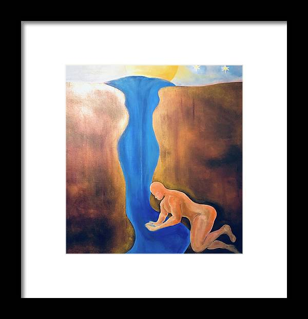 River Framed Print featuring the painting A Compassionate Thirst by Ron Tango Jr