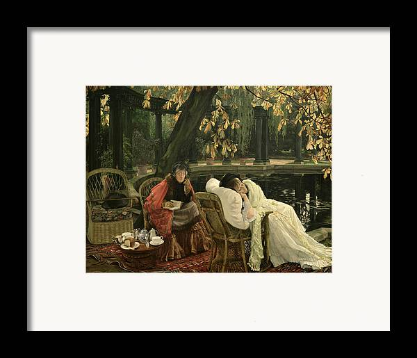 Illness; Lazing; Teatime; Unwell; Invalid; Nurse; Chaperone; Horse; Chestnut; Tree; Victorian; English; Girl; Colonnade; Pool; Autumn; Resting; Tissot; Tissot Garden; St John Wood Framed Print featuring the painting A Convalescent by James Jacques Joseph Tissot