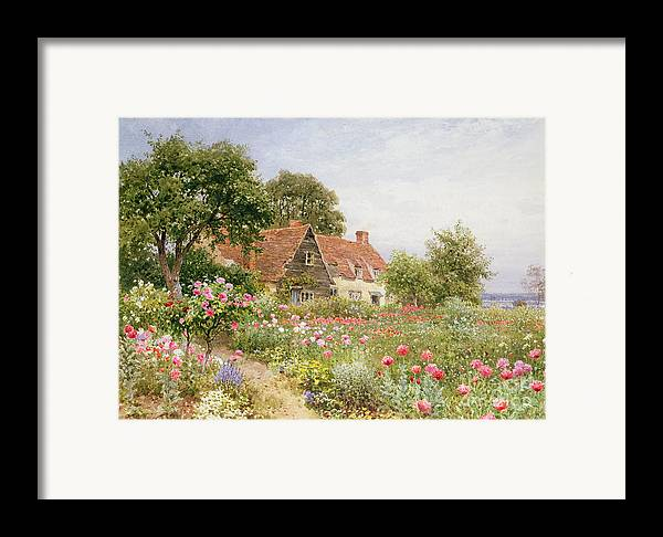 The Cottar's Pride Framed Print featuring the painting A Cottage Garden by Henry Sutton Palmer