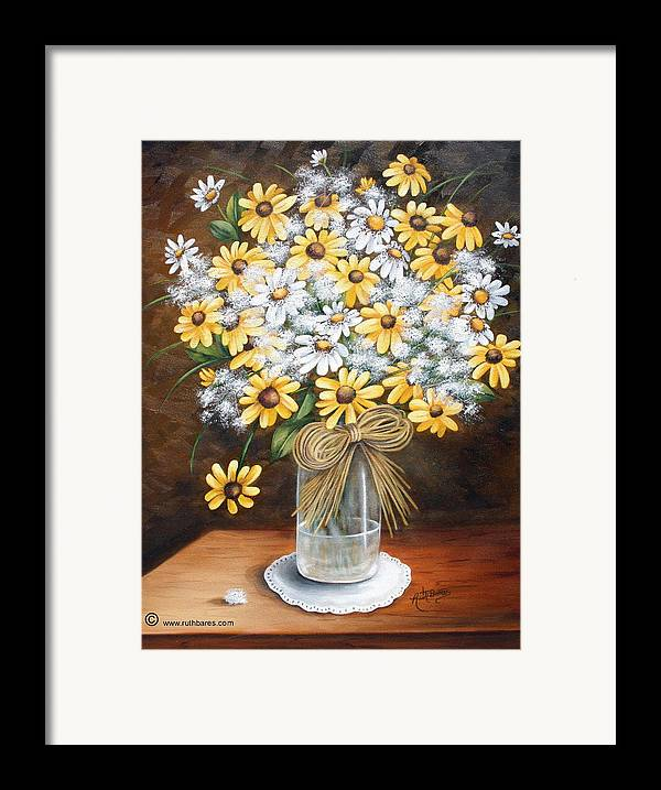 Still Lift Framed Print featuring the painting A Country Bouquet by Ruth Bares