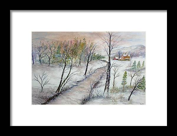 Snow; Creek; Trees; Old House; Sunrise;mountains Framed Print featuring the painting A Country Winter by Ben Kiger