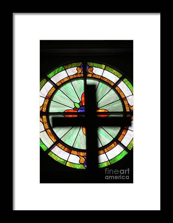 Stain Glass Framed Print featuring the photograph A Cross Window by Joy Tudor