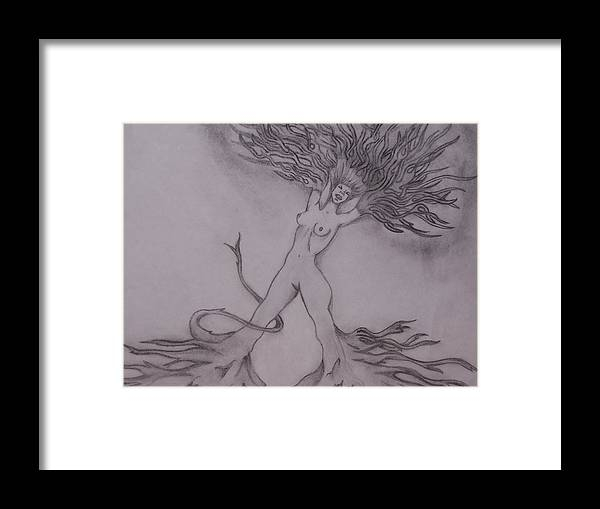 Abstract Framed Print featuring the drawing A Dance With The Wind by Erin Hope