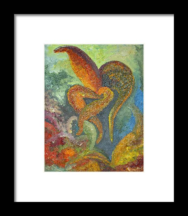 Flower Framed Print featuring the painting A Dancing Flower by Karina Ishkhanova