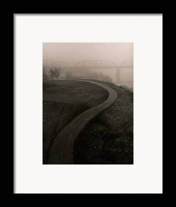 Black-white Framed Print featuring the painting A Dark Widing Road by Arnold Isbister