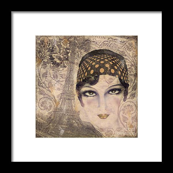 Vintage Paris Framed Print featuring the painting A Date With Paris by Mindy Sommers