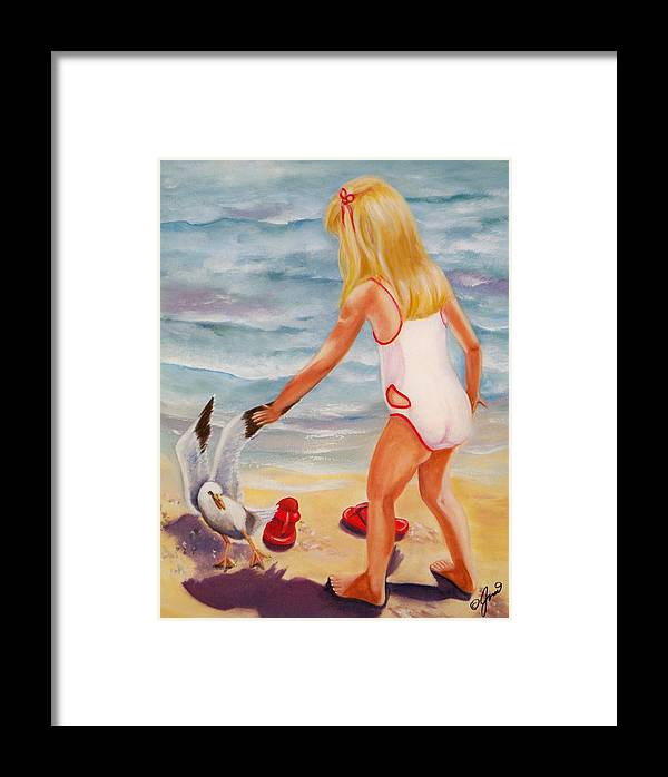 Beach Framed Print featuring the painting A Day At The Beach by Joni McPherson