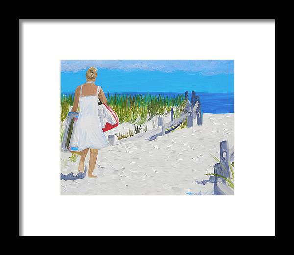 Beach Scene Framed Print featuring the painting A Day At The Beach by Michael Lee