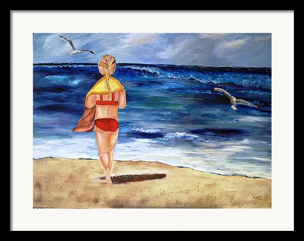 Children Framed Print featuring the painting A Day At The Beach by Pamela Squires