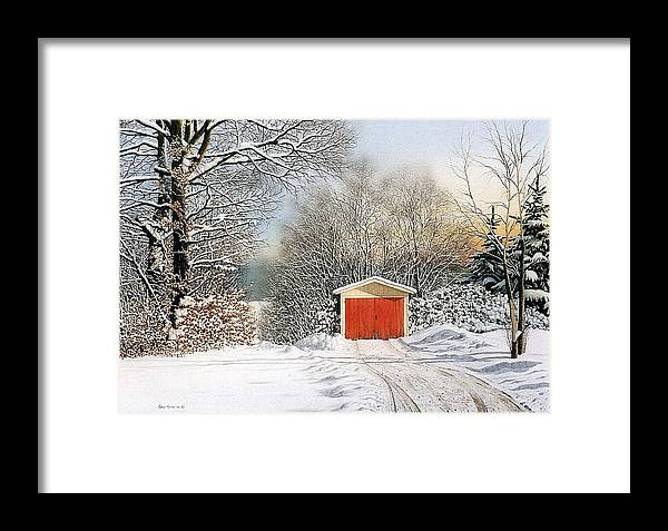 Scenic Framed Print featuring the painting A Day In December by Conrad Mieschke