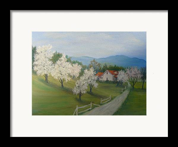Landscape; Spring; Mountains; Country Road; House Framed Print featuring the painting A Day In The Country by Ben Kiger
