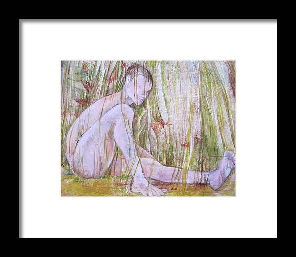 Whimsical Abstracted Painting Of A Nude Man Spending The Day In The Grass. Part Of Artist' Series On Joyful Days. Framed Print featuring the painting A Day In The Grass by Georgia Annwell