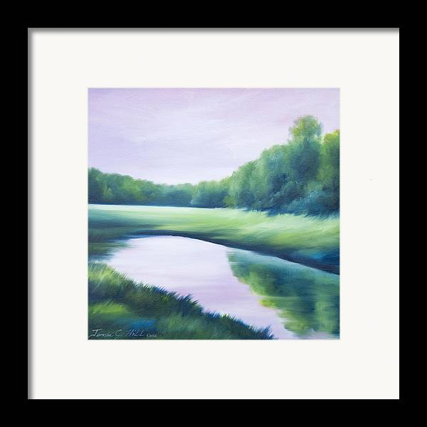 Nature; Lake; Sunset; Sunrise; Serene; Forest; Trees; Water; Ripples; Clearing; Lagoon; James Christopher Hill; Jameshillgallery.com; Foliage; Sky; Realism; Oils; Green; Tree; Blue; Pink; Pond; Lake Framed Print featuring the painting A Day In The Life 1 by James Christopher Hill