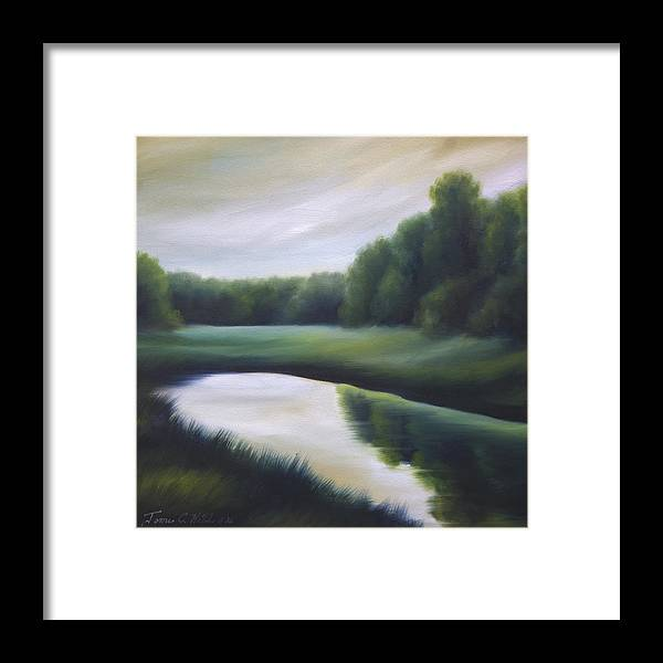 Nature; Lake; Sunset; Sunrise; Serene; Forest; Trees; Water; Ripples; Clearing; Lagoon; James Christopher Hill; Jameshillgallery.com; Foliage; Sky; Realism; Oils; Green; Tree Framed Print featuring the painting A Day In The Life 3 by James Christopher Hill