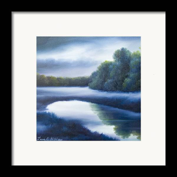 Nature; Lake; Sunset; Sunrise; Serene; Forest; Trees; Water; Ripples; Clearing; Lagoon; James Christopher Hill; Jameshillgallery.com; Foliage; Sky; Realism; Oils; Green; Tree; Blue; Pink; Pond; Lake Framed Print featuring the painting A Day In The Life 4 by James Christopher Hill