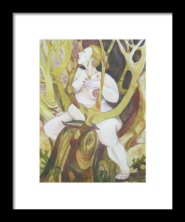 Framed And Matted Painting Of A Plump Nude Woman Spending The Day In The Trees. Whimsical. Part Of Artist Series On Joyful Days. Framed Print featuring the painting A Day In The Trees by Georgia Annwell