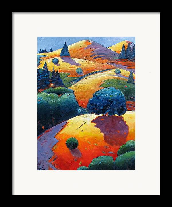 Hills Framed Print featuring the painting A Different Kind Of Blue Tree by Gary Coleman